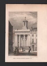 1829 ANTIQUE PRINT-SHEPHERD - LONDON- NEW CHURCH, NORTH AUDLEY STREET