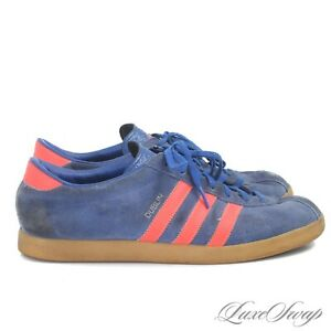 RARE Adidas Originals 038832 2003 Dublin Cities Blue Suede Orange Sneakers 9.5