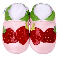 First Walk Crib Shoes Soft Sole Leather Baby Infant Baby Kid Strawberry 12-18M