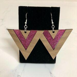 Pink Glitter Walnut Triangle Dangle Earrings