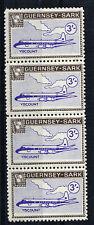 SARK 1966 DEFINITIVES 3/- VISCOUNT AIRCRAFT MNH STRIP 4
