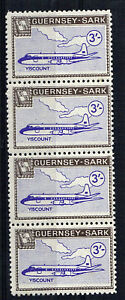 SARK 1966 DEFINITIVES 3/- VISCOUNT AIRCRAFT MNH STRIP 4