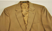 MENS SUIT COAT SIZE 41 REGULAR LIGHT BROWN SOLID TWO BUTTON FRONT WOOL