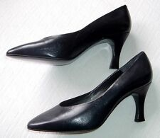 NEW GALO ITALY VINTAGE 80S BLACK HANDMADE LEATHER PUMPS HEELS SHOES I39 8.5 9