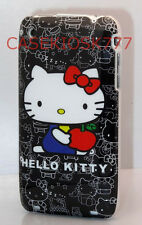 FOR IPHONE 3G 3GS CASE skin BLACK WHITE W/ RED BOW hello kitty kitten HARD BACK/