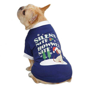SILENT NITE HOWWLY HOWLY NITE - Casual Canine Dog Tee T-Shirt MED Pup Puppy NEW