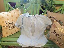 women's sky blue medium short sleeve blouse Kim Rogers