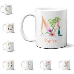 Tropical Alphabet Exotic Floral Name Initial Letter Coffee Mug Gift 11oz Ceramic