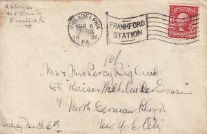 1906 USA envelope sent from Frank Ford Station Philadelphia to New York