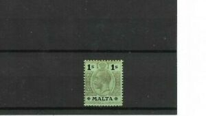 MALTA - 1920 Emerald 1/- on White Back Definitive - Mult Crown CA - SG 81c - m/m