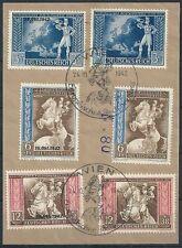 DR 1942 - Europäischer Postkongr. Wien - Mi. 820-825 SF auf Briefstück SST Wien