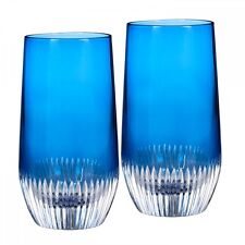 Waterford Mixology Argon Blue Hiball Glasses Pair New  #162828