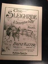 1890 SHEET MUSIC Art CHRISTMAS The SLEIGH RIDE Piano Solo McKinley Co Chicago NY