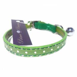 Polka Dot Cat Collars Safety Elastic Vegan Green Bell New
