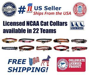 NCAA CAT Collar - Licensed Heavy-duty with Jingle Bell. 20+ Collegiate Available