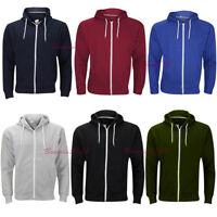 New Plain Mens Hoodie Fleece Zip Up Hoody Jacket Sweatshirt Hooded Zipper Top,.