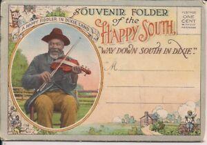 "BLACK AMERICANA Postcard Folder, ""Happy"" Dixie, Families, Children, Teich 1910's"