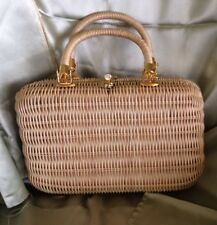 Vintage Lacquered Wicker Box Purse Double Handle Brass Hardware 1960s