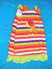 Sweet Heart Rose Size 6X Girl Pullover Sun Dress Straps Blue With Stripes Multi