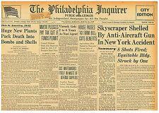 WALL ST SKYSCRAPER STRUCK ANTI-AIRCRAFT ACCIDENT  MARCH 14 1942 0405107WQ B10