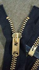 "USA VTG RARE NOS Jacket Zipper TALON #10 Separating Metal BRASS 24"" BLACK/COTTON"