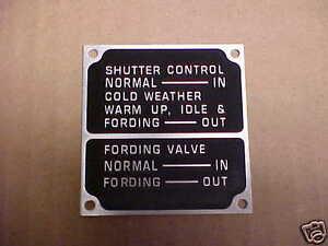 NOS Mack & Autocar Shutter Control data plate for Vintage Trucks