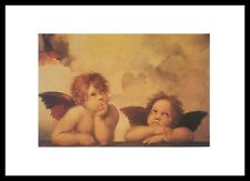 Raphael zwei Engel Poster Bild Kunstdruck mit Alu Rahmen in schwarz 70x50cm