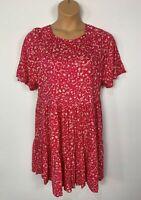 WOMENS NEXT PETITE PINK&WHITE SHORT SLEEVE CREW NECK A LINE DRESS SIZE UK 16