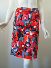 Anthropologie Vanessa Virginia Red Gray Floral Corduroy Pencil Skirt 10 unlined