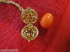"Joan Rivers Gold tone 30"" chain necklace  filigree faberge orange egg pendant"
