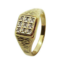 9ct Yellow Gold Solid Gents Nine Diamond Lightweight Signet Ring Size S 10mm Top