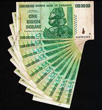 10 x 1 Billion Zimbabwe Dollars Banknotes AA 2008 10PCS Currency Paper Money Lot
