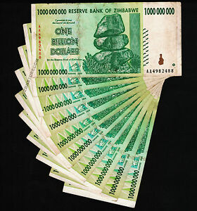 10 x 1 Billion Zimbabwe Dollars Banknotes AA 2008 Authentic Currency Genuine Lot