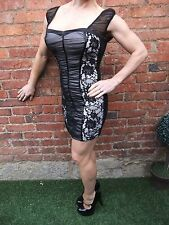 JANE NORMAN BLACK LACE & NUDE GOTHIC BODYCON STRETCH COCKTAIL PARTY DRESS ~ UK 8