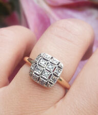 Vintage Victorian Antique Inspired 9ct Rose Gold & Diamond Square Ring