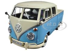 VOLKSWAGEN TYPE 2 (T1) DOUBLE CAB PICKUP TRUCK BLUE/CREAM 1:24 MOTORMAX 79343