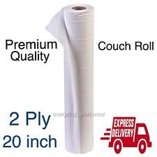 """1 Pack Single Professional 2ply White Hygiene Paper Roll - 20"""" x 40m Couch Rolls"""
