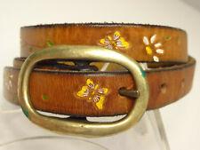 Vtg 70s Hippie Skinny Tooled Floral Butterflies Painted Leather Belt-S/M