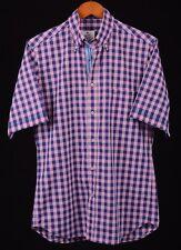 Paul & Shark Yachting Pink & Blue Gingham Check Button Up Short Sleeve Shirt 39