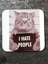 I Hate People Cat Mugshot Secret Santa Gift Poster Coffee Mug Coaster