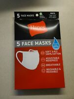 5 - Pack Hanes White  Soft Cotton Face Mask Reusable Cover Facemask NEW SEALED