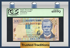 """TT PK 48a 2001 MALAWI RESERVE BANK 500 KWACHA """"J. CHILEMBWE"""" PCGS 65 PPQ GEM"""