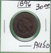 1896 Canadian Large One Cent Coin - AU-50