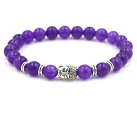 8mm Amethyst Bracelets Stretchy Healing Tibet silver Sutra Stretchy cuff Lucky