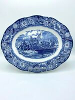 "Staffordshire England LIBERTY BLUE Washington Crossing the Delaware Platter 14"""
