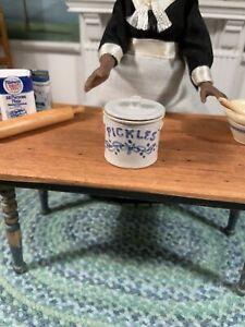 Dollhouse Miniature Artisan Signed Vernon Pickle Crock (r)