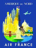New York Air France Retro Travel Advertisement Art Poster Print. NYC