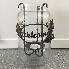 "Pier 1 RUSTIC Iron Leaves WELCOME Glass HURRICANE Candle Holder 10"" TALL NIB"