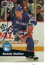RANDY MOLLER SIGNED 1991-92 PROSET #163 - NEW YORK RANGERS