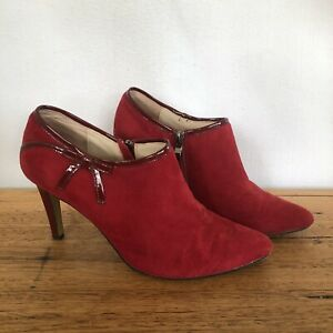 💥 LEONA EDMISTON RED LEATHER bootie Heals Mules Bow Embellished 39 8